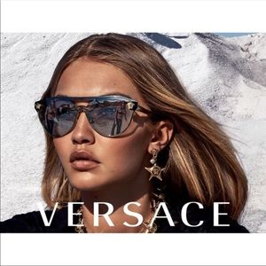 Versace 2168 Sunglasses - Black/Gold Oval - Women